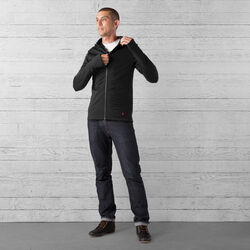 Merino Wool Cobra Hoodie in Black - wide-hi-res view.