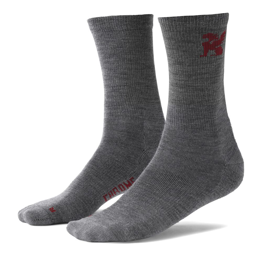 Merino Crew Socks in Grey - hi-res view.