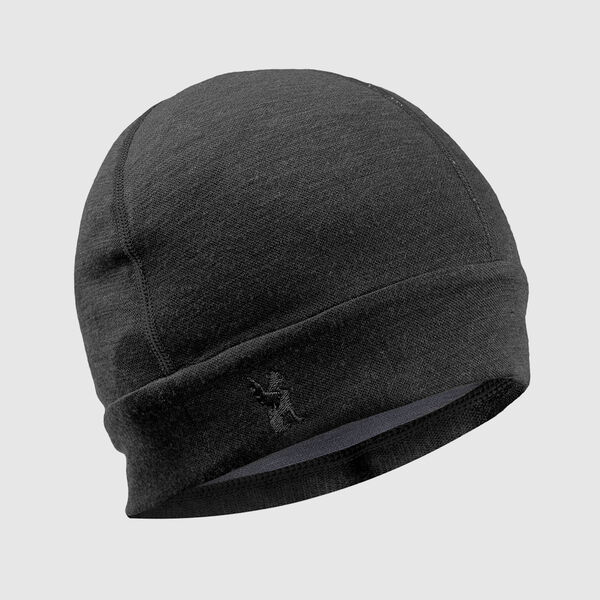 Merino Beanie in Black / Dark Shadow - medium view.