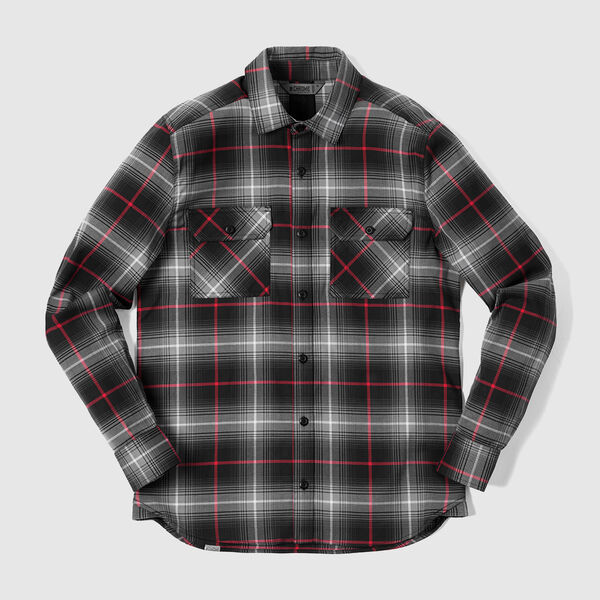 Woven Stretch Workshirt in Black Plaid - medium view.