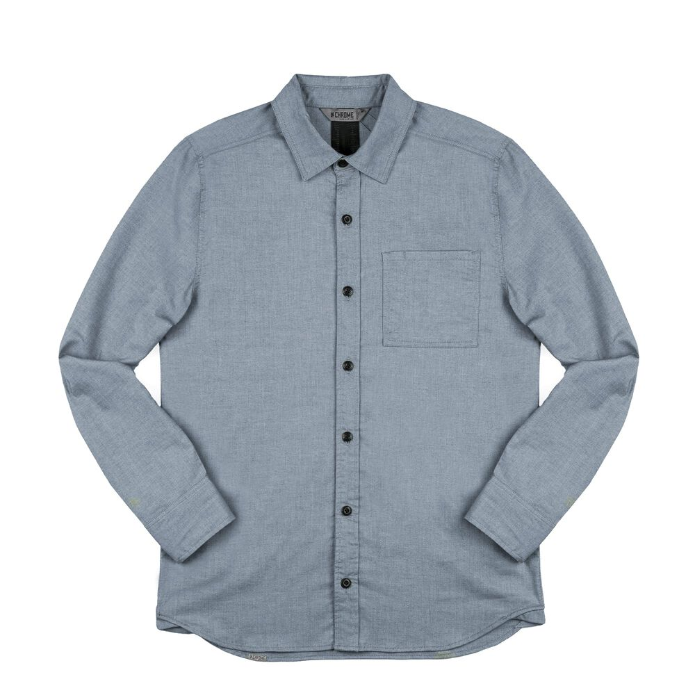 Stretch Chambray Workshirt in Midnight Navy - large view.