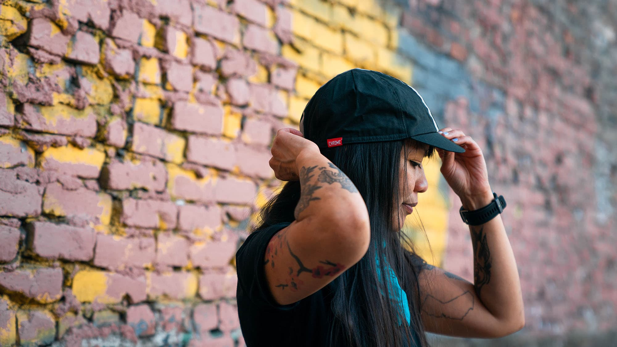 unisex cycling cap on a woman
