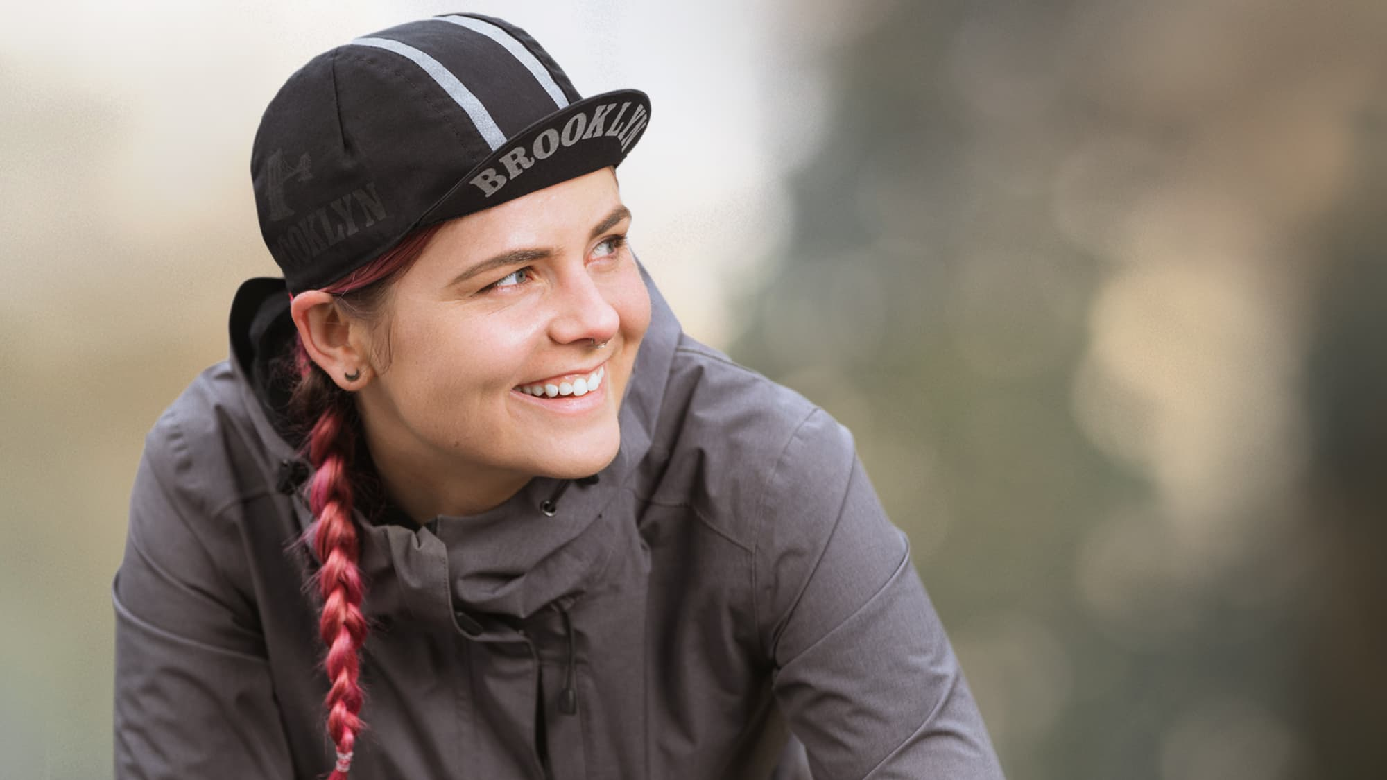 cycling cap on a woman bicyclist