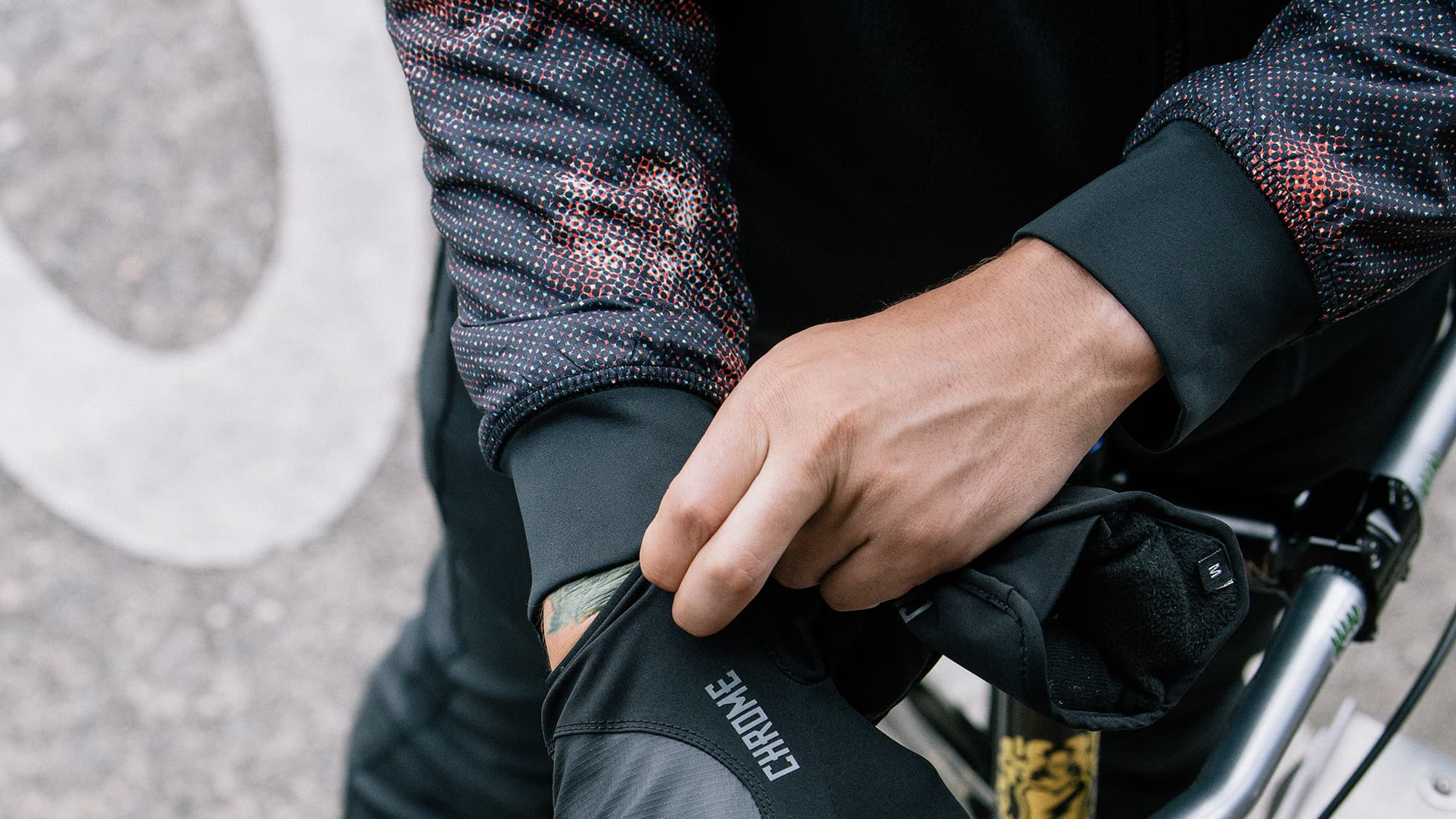putting on cycling gloves