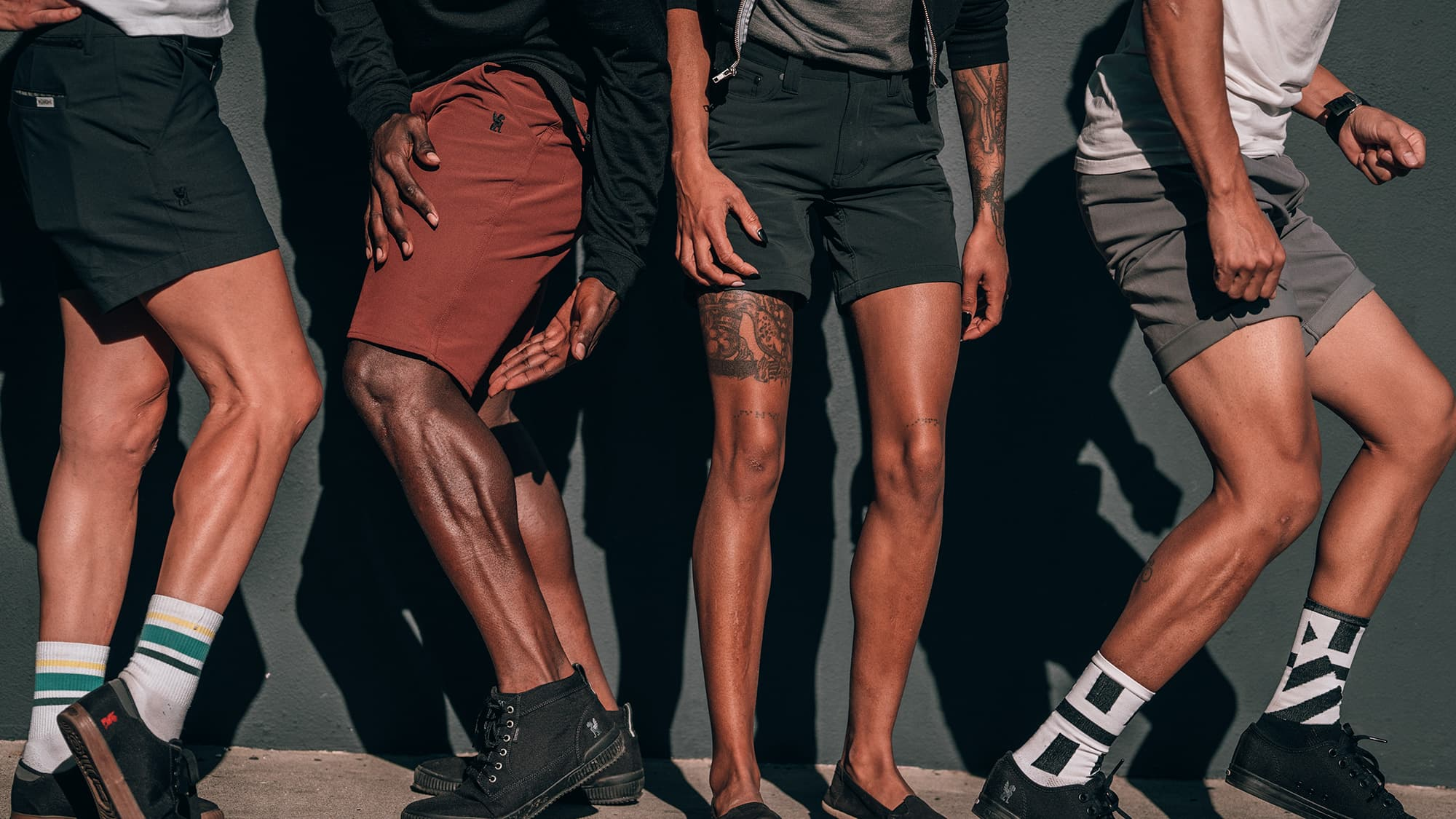 Chrome shorts worn by various people